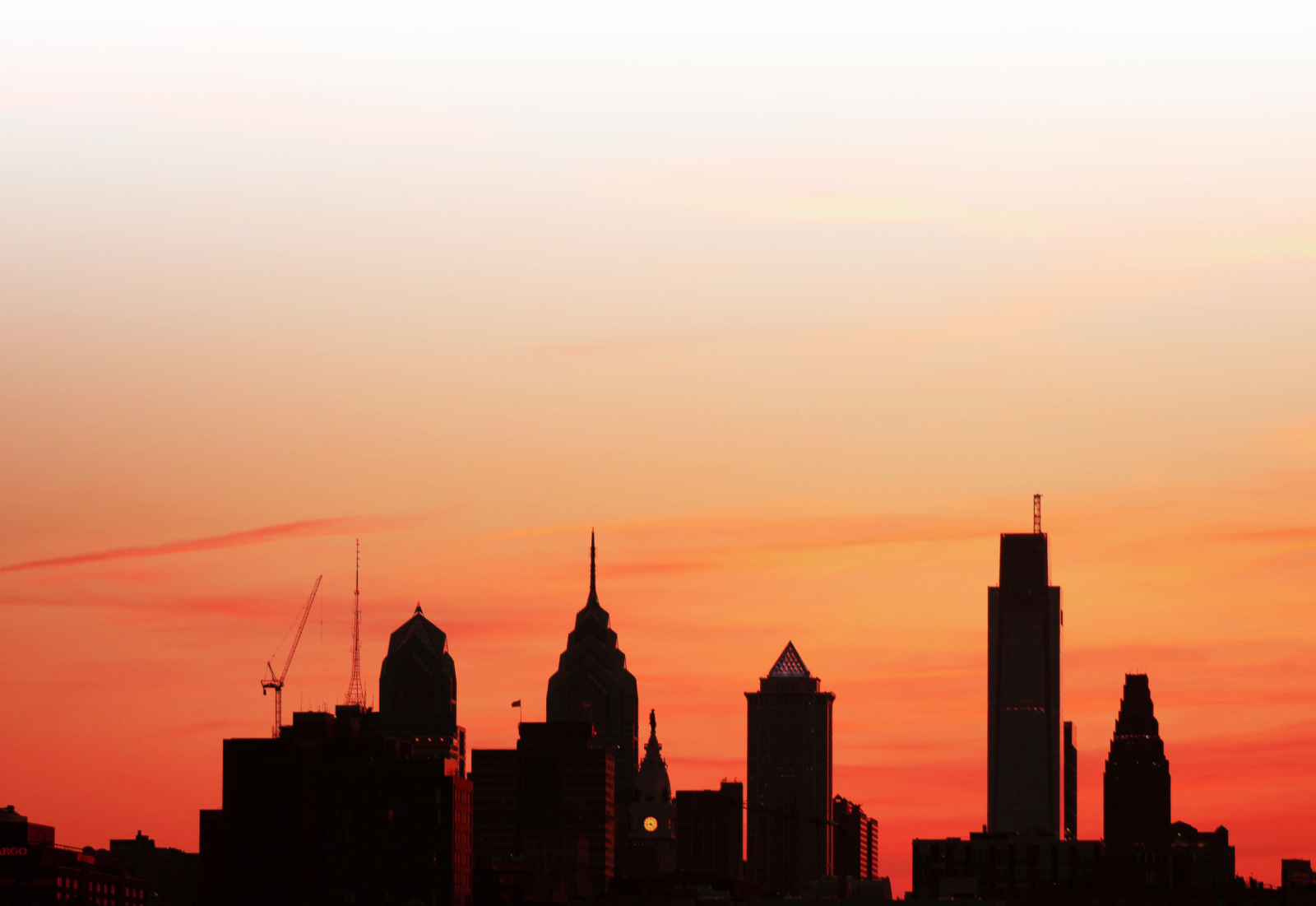 Sunset view of the city of Philadelphia